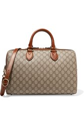 Gucci Linea A Boston Leather Trimmed Coated Canvas Tote