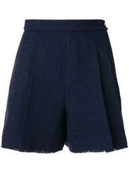 Thom Browne Double Pleat Frayed Shorts Blue