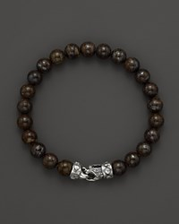 Scott Kay Men's Brown Jasper Bead Bracelet With Riveted Sterling Silver Clasp