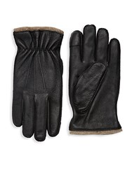 Saks Fifth Avenue Textured Touch Tech Leather Gloves Black