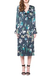 Willow And Clay Women's Floral Wrap Dress Navy