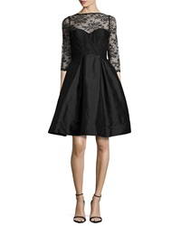 Monique Lhuillier Bridesmaids 3 4 Sleeve Lace Bodice Full Skirt Short Dress Black