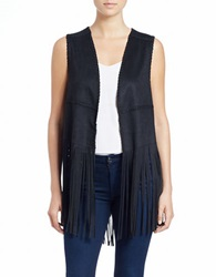 Blank Nyc Fringed Vest Black
