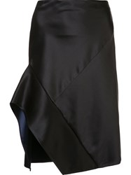 Narciso Rodriguez Contrast Trim Asymmetric Skirt Black