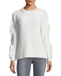 Magaschoni Fringed Trim Long Sleeve Sweater White