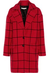Rebecca Minkoff Forde Checked Wool Blend Coat Red