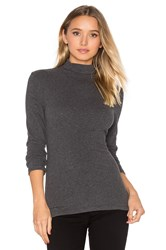 James Perse Brushed Turtleneck Long Sleeve Tee Charcoal