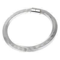 Adele Marie Hexagonal Big Spring Magnetic Clasp Necklace Silver