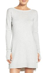 Uggr Women's Ugg 'Liliana' Long Sleeve Cotton Nightgown Seal Heather