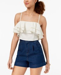 Material Girl Juniors' Ruffled Flounce Crop Top Cloud Dancer