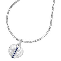 Dower And Hall Small Sterling Silver Heart Sapphire Locket