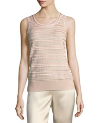 St. John Welted Sequined Knit Tank Blush