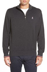 Men's Psycho Bunny Pima Cotton Quarter Zip Sweater Charcoal Grey