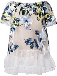Erdem Floral Embroidered Sheer Top Nude And Neutrals