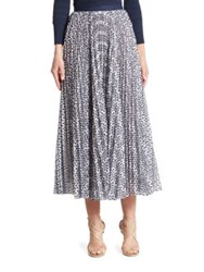 Oscar De La Renta Floral Pleated Skirt White Navy