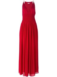 Issa Ruched Sleeveless Gown Red