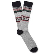 Anonymous Ism Fair Isle Jacquard Knit Socks Gray