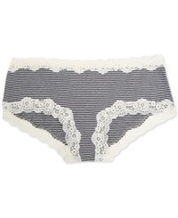 A Pea In The Pod Maternity Lace Trim Girl Shorts Navy Egret Stripe