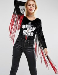 Jaded London Halloween Velvet Body With Fringe Sleeves And Sequin Patch Black