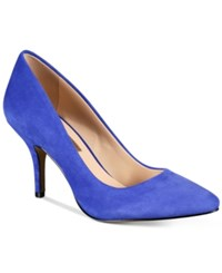 Inc International Concepts Womens Zitah Pointed Toe Pumps Only At Macy's Women's Shoes Dazzling Blue Suede