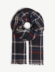 Claudie Pierlot Amadras Checked Cotton Scarf Blue