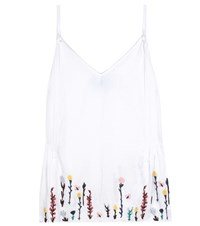 Mih Jeans Embroidered Cotton And Linen Top White