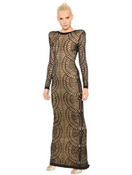 Balmain Tattoo Effect Viscose Jersey Dress