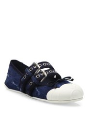 Miu Miu Double Strap Denim Cap Toe Ballet Flats Blue