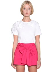Red Valentino Jersey T Shirt W Flower Appliques White