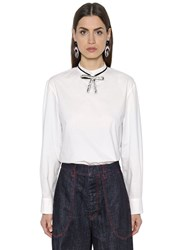 Marni Cotton Poplin Blouse W Crystal Bow