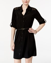 Amy Byer Bcx Juniors' Lace Trim Shirtdress With Belt Black