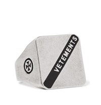 Vetements Logo Embossed Burnished Silver Tone Ring Silver