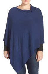 Plus Size Women's Eileen Fisher Drape Neck Lightweight Knit Poncho Blue Bonnet Blue