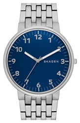 Skagen 'Anchor' Bracelet Watch 40Mm Silver Blue