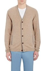 Barneys New York Men's Cashmere V Neck Cardigan Brown