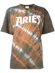 Aries Logo Print Tie Dye T Shirt Green