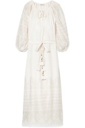 Mes Demoiselles Offrande Tasseled Printed Cotton Voile Midi Dress Ivory Gbp