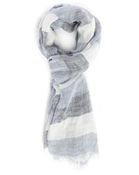 Scotch And Soda Ecru Blue Striped Linen Cotton Scarf