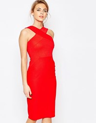 Oasis Cross Front Bodycon Dress Red
