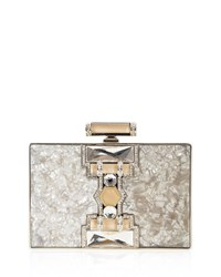 Judith Leiber Ridged Rectangle Marble Resin Clutch Bag Nude