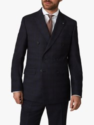Jaeger Regular Fit Double Breasted Check Suit Jacket Navy