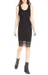 Kendall Kylie Women's Lace Hem Tank Dress Black