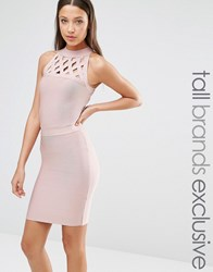 True Decadence Tall Bandage Dress With Lattice Detail Rose Pink