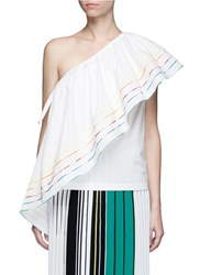 Rosie Assoulin 'Wedge' Rainbow Ruffle Poplin One Shoulder Top White