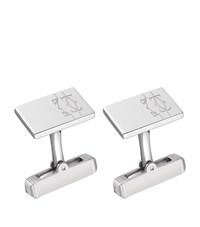 Cartier Lines And Logo Cufflinks Silver