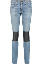 Rag And Bone Tomboy Faux Leather Paneled Mid Rise Straight Leg Jeans Light Denim