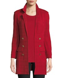 Misook Textured Knit Jacket W Gold Button Detail Classic Red