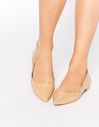 Asos Lost Pointed Ballet Flats Nude