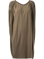 Rick Owens Lilies 'Draped Cape' Dress Brown