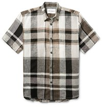 Our Legacy Checked Linen Shirt Brown